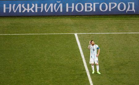 Argentina's Lionel Messi reacts after conceding their second goal scored by Croatia's Luka Modric. REUTERS/Carlos Barria