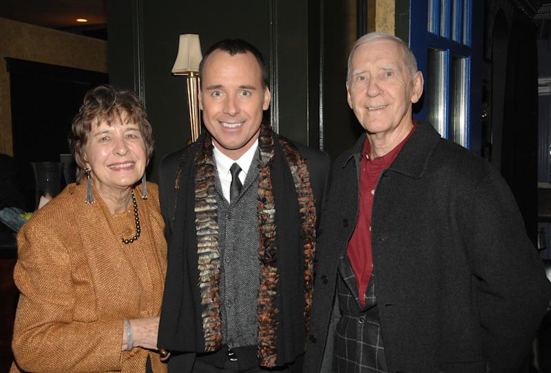 TORONTO, ON - OCTOBER 30: David Furnish (M) with parents Gladys and Jack Furnish attend the 2008 Fashion Cares Cocktail Reception at the Windsor Arms Hotel on October 30, 2008 in Toronto, Canada. (Photo by George Pimentel/WireImage)