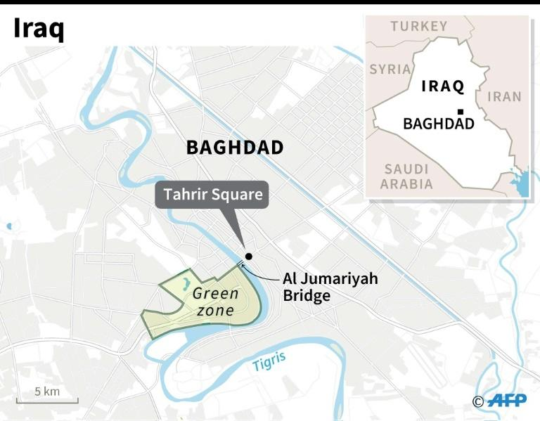 Map of central Baghdad in Iraq. (AFP Photo/Jonathan WALTER)