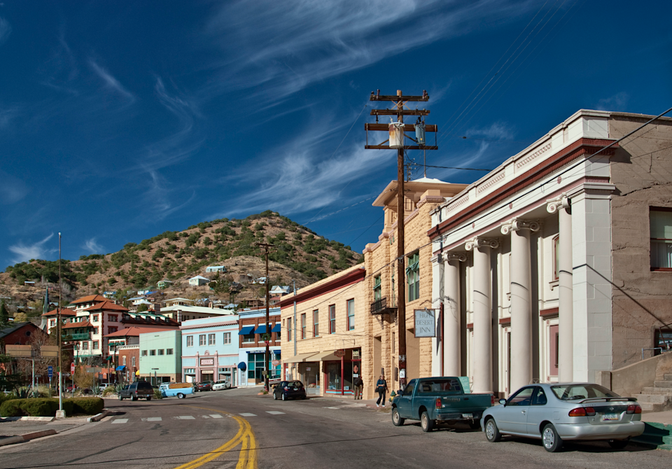 """<p>Back in the day, <a href=""""https://go.redirectingat.com?id=74968X1596630&url=https%3A%2F%2Fwww.tripadvisor.com%2FTourism-g31171-Bisbee_Arizona-Vacations.html&sref=https%3A%2F%2Fwww.esquire.com%2Flifestyle%2Fg35036575%2Fsmall-american-town-destinations%2F"""" rel=""""nofollow noopener"""" target=""""_blank"""" data-ylk=""""slk:Bisbee was a major silver and copper mining hub"""" class=""""link rapid-noclick-resp"""">Bisbee was a major silver and copper mining hub</a>, but now it's a quaint small town home to artists and retirees. With houses on cliffs' edges and a mine cavern that you can still explore, it's pretty picturesque. </p>"""