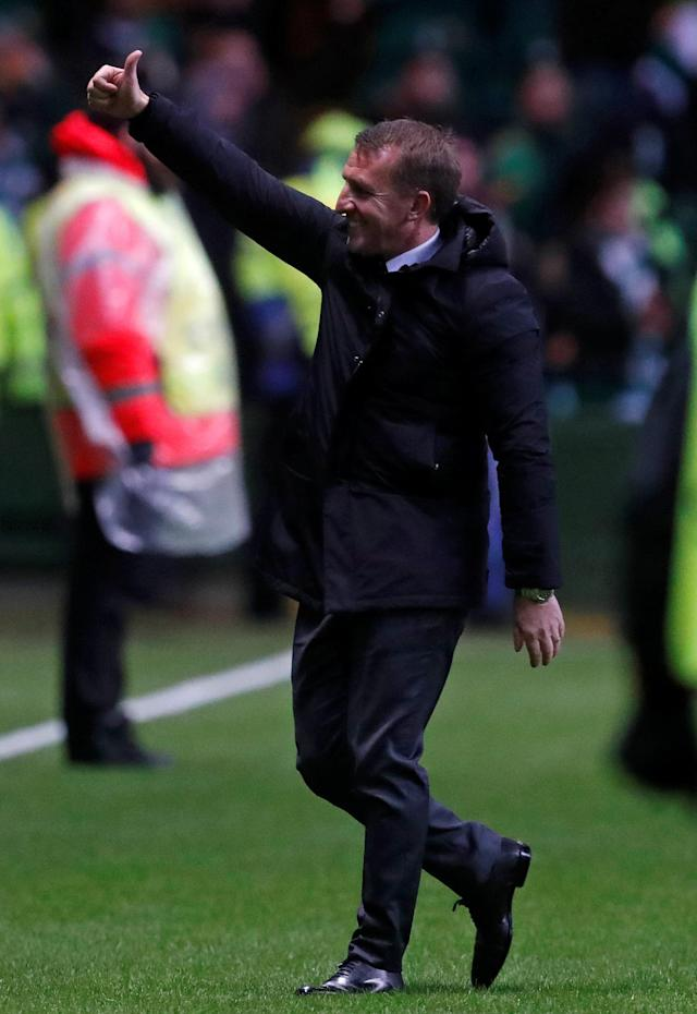 Soccer Football - Europa League Round of 32 First Leg - Celtic vs Zenit Saint Petersburg - Celtic Park, Glasgow, Britain - February 15, 2018 Celtic manager Brendan Rodgers acknowledges fans after the match REUTERS/Russell Cheyne