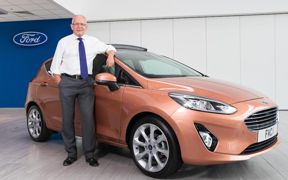 Andy Barratt, Ford of Britain MD, with Ford Fiesta