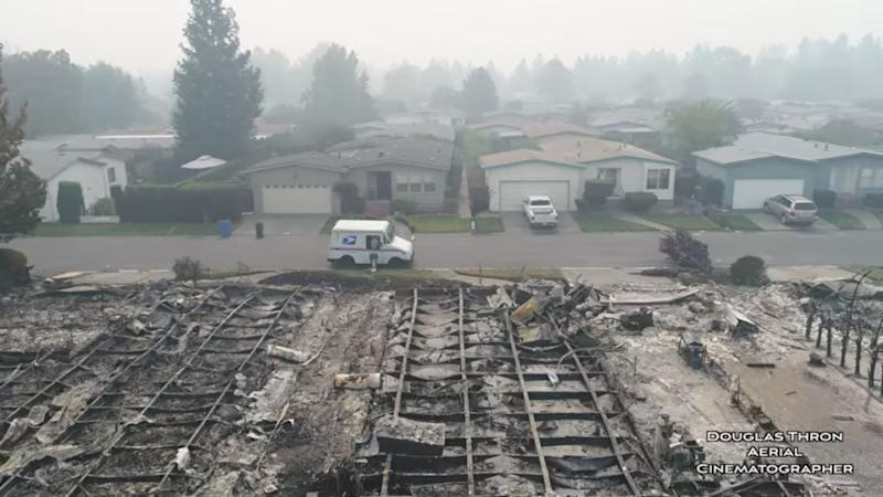 The drone's pilot, Douglas Thron, said the destruction changed his outlook on things, as he thought the neighborhood would have been safe and protected.