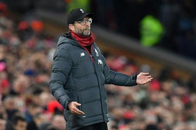 Jurgen Klopp on the sidelines at the Liverpool and Manchester City match this weekend (AFP Photo/Paul ELLIS)