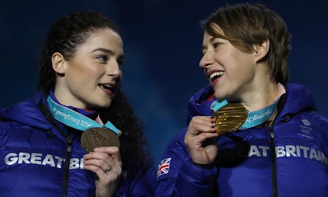 """<span class=""""element-image__caption"""">Lizzy Yarnold (right) and Laura Deas with the gold and bronze medals they won respectively in the women's skeleton at Pyeongchang.</span> <span class=""""element-image__credit"""">Photograph: Ian MacNicol/Getty Images</span>"""