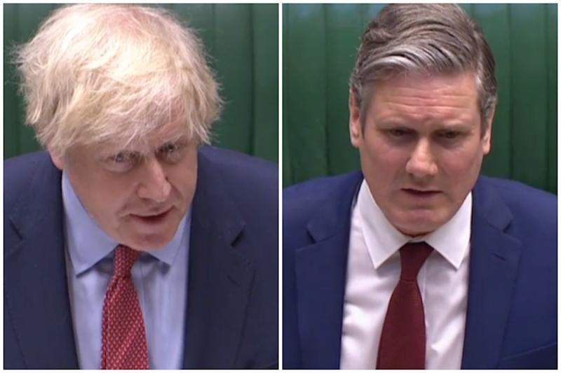 Boris Johnson accused Sir Keir Starmer of using a 'negative tone' at PMQs on Wednesday. (Parliamentlive.tv)