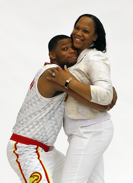 Omari Spellman and his mother, Teresita Jones-Thomas