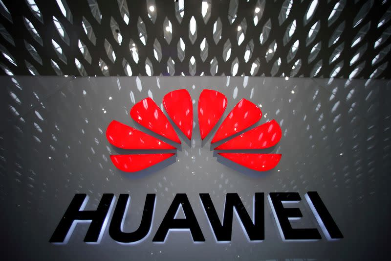 FILE PHOTO: A Huawei company logo pictured at Shenzhen International Airport
