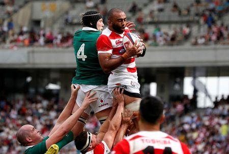 Rugby Union - Japan v Ireland - Ajinomoto Stadium, Tokyo, Japan - June 24, 2017 - Ireland's Kieran Treadwell and Japan's Michael Leitch in action. REUTERS/Issei Kato