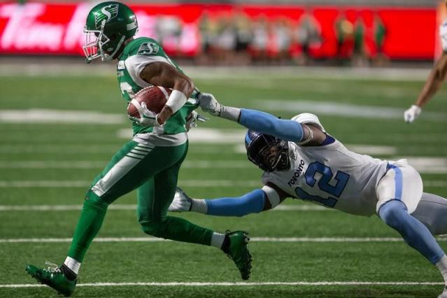 """REGINA — Cody Fajardo's stock continues to rise, and with it so do the Saskatchewan Roughriders.Fajardo enjoyed his best game as a professional, both from a personal and team standpoint, in leading the Riders to a 32-7 victory over the Toronto Argonauts.In just his second career start in the CFL, Fajardo threw for career-best 430 yards and two touchdowns and Saskatchewan earned its first win of the season. It was Fajardo's first win as a starting quarterback.""""He's getting an opportunity and he's making the most of it,"""" said Saskatchewan's Craig Dickenson, who also picked up his first win as a head coach.The Riders improved to 1-2 and will host the Calgary Stampeders on Saturday. Toronto, now 0-2, returns home to take on the B.C. Lions.Fajardo took over the No. 1 quarterback role in Week 1 in Hamilton after Zach Collaros was knocked out of that contest in the first quarter.As a backup in Toronto and in B.C., the past two seasons, Fajardo has been lights out in Saskatchewan.The Riders offence produced 501 yards net offence against Toronto. A week ago, in a 44-41 loss to the Ottawa Redblacks, Fajardo and the Saskatchewan offence had 468 total yards. Fajardo has thrown for 790 yards in those two games.""""When you're a backup for so long, you get to see things and you're not thrown into the fire,"""" he said. """"Being able to sit behind guys like Ricky Ray and (Travis) Lulay, I'll say this until the end of my career, those guys really helped me out and helped me stick in this league.""""Fajardo won a Grey Cup title while with the Argos in 2017.""""We're pretty hot right now. Things are clicking for us and we're finally starting to come together,"""" added receiver Kyran Moore, who led the Riders with 127 yards and one touchdown, a 98-yard score in the first quarter.It was the second consecutive game both Moore and Shaq Evans had more than 100 receiving yards in the same game. Evans caught five passes for 112 yards.Moore and Cory Watson caught touchdown passes from Fajardo in the first h"""