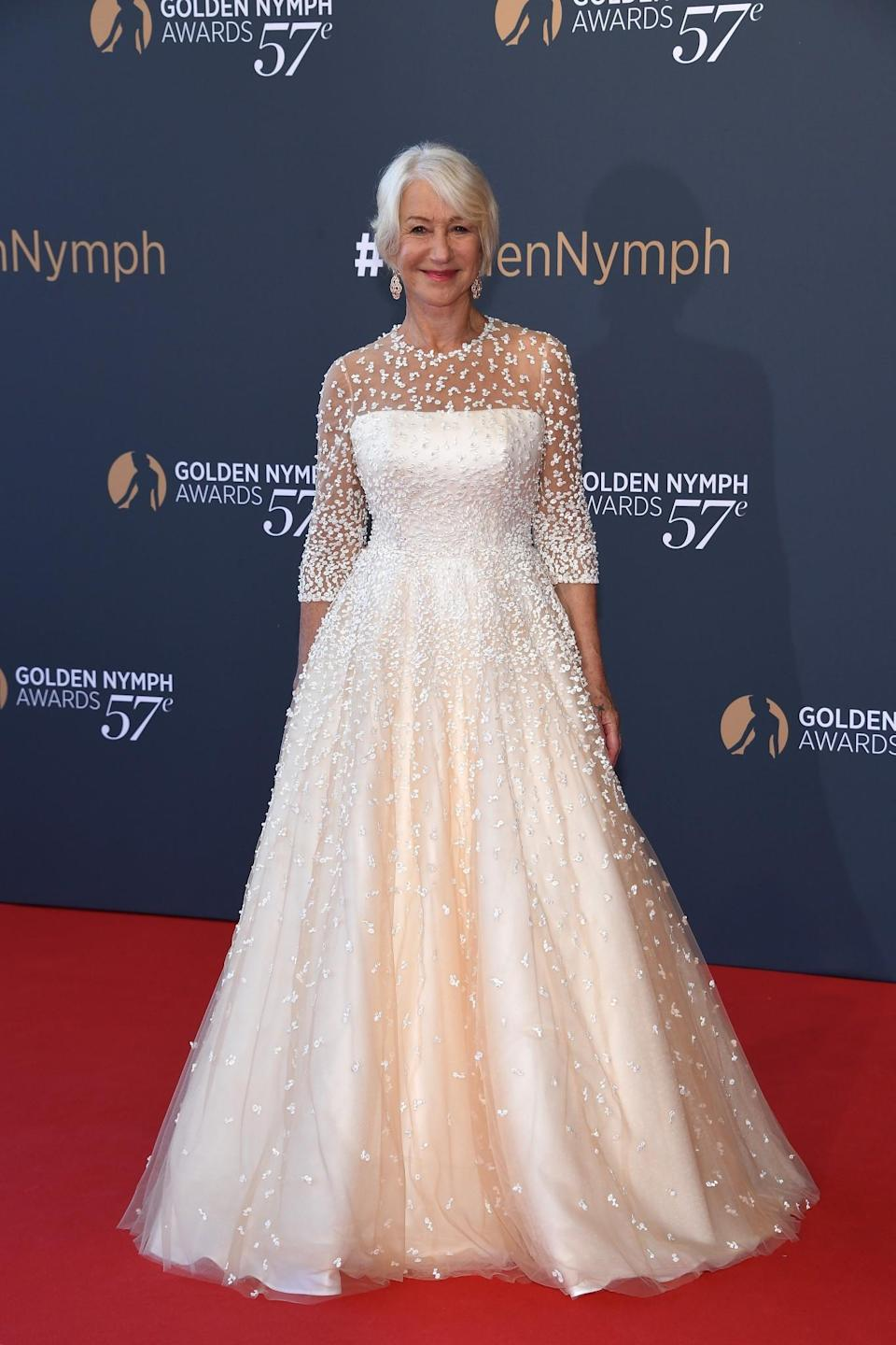 <p>Dame Helen turned to British bridal label, Sassi Holford, for her bespoke, full-skirted Monte Carlo gown. <br><em>[Photo: Getty]</em> </p>