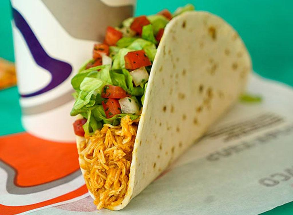 """<div>170 calories, 8 g fat (3 g saturated fat, 0 g trans fat), 450 mg sodium, 16 g carbohydrates (1 g fiber, 1 g sugar), 10 g protein</div>         For less than 200 calories, soft chicken tacos are a much healthier alternative to the XXL burritos and <a rel=""""nofollow"""" href=""""https://www.eatthis.com/taco-bell-menu-ranked/?utm_source=msn&utm_medium=feed&utm_campaign=msn-feed"""">Doritos locos tacos</a>. This better-for-you bite provides filling protein with a whole lot less fat, sodium, and carbs. Make it fresco by loading it up with guac and pico de gallo, and you've got a well-balanced meal."""