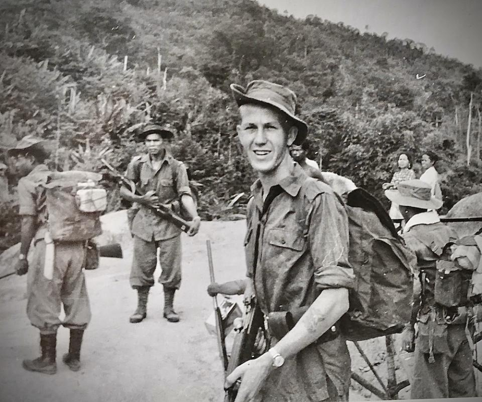 Lt. Peter Julius and his men setting out on patrol, from Fort Telanok, Perak in July, 1957. — Picture courtesy of Peter Julius