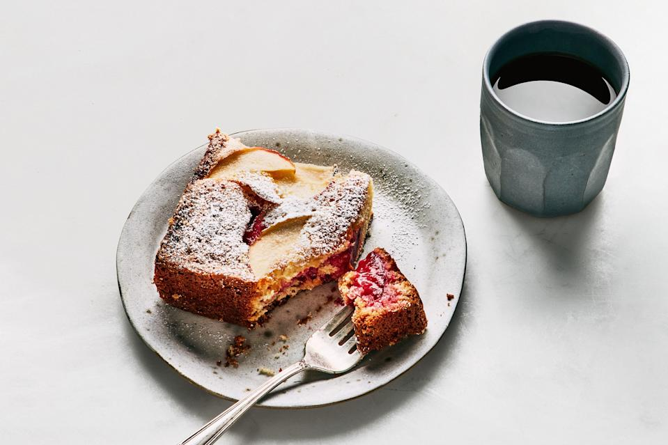 "Whatever fruit you have on hand—pears, berries, figs, grapefruit—will fare beautifully in this sheet cake, which is as good for Easter breakfast as it is dessert. <a href=""https://www.epicurious.com/recipes/food/views/lemon-cake-with-fruit?mbid=synd_yahoo_rss"" rel=""nofollow noopener"" target=""_blank"" data-ylk=""slk:See recipe."" class=""link rapid-noclick-resp"">See recipe.</a>"