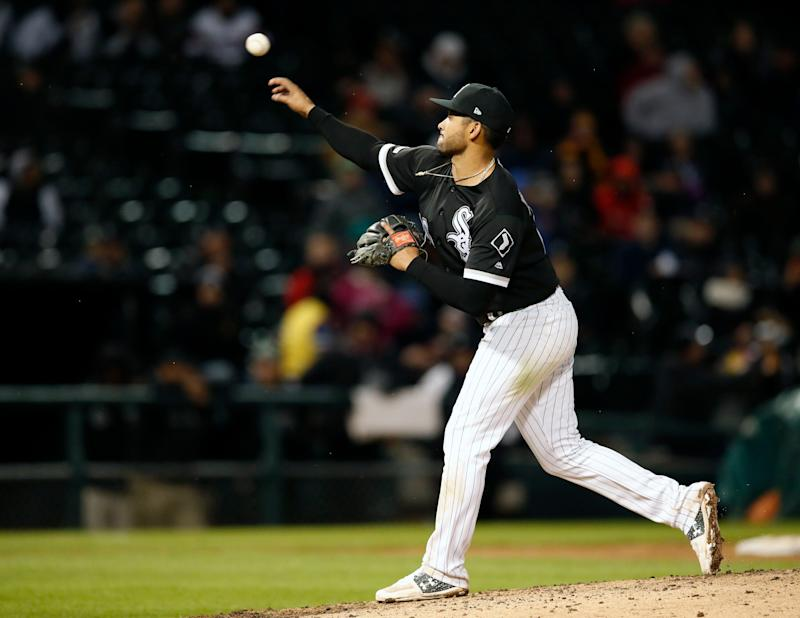White Sox IF Jose Rondon puzzled the Red Sox with 50 mph eephus pitches. (AP Photo/Jeff Haynes)