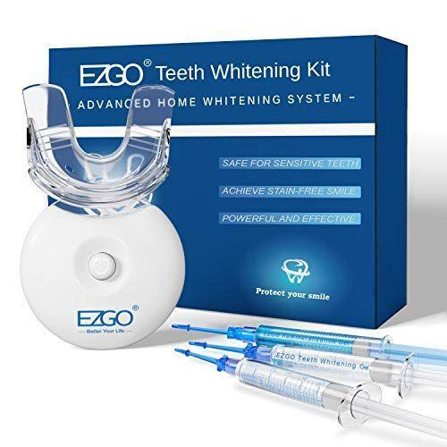 """<p><strong>EZGO</strong></p><p>amazon.com</p><p><strong>24.99</strong></p><p><a href=""""https://www.amazon.com/dp/B087JDQCGQ?tag=syn-yahoo-20&ascsubtag=%5Bartid%7C2139.g.33486702%5Bsrc%7Cyahoo-us"""" rel=""""nofollow noopener"""" target=""""_blank"""" data-ylk=""""slk:Shop Now"""" class=""""link rapid-noclick-resp"""">Shop Now</a></p><p>The tray in this teeth-whitening kit fits any mouth. It has a powerful set of LED lights, plus a 10-minute timer so there's no guesswork in knowing when you're done. The kit uses the alternate type of peroxide, carbamide, which is as effective as peroxide.</p>"""