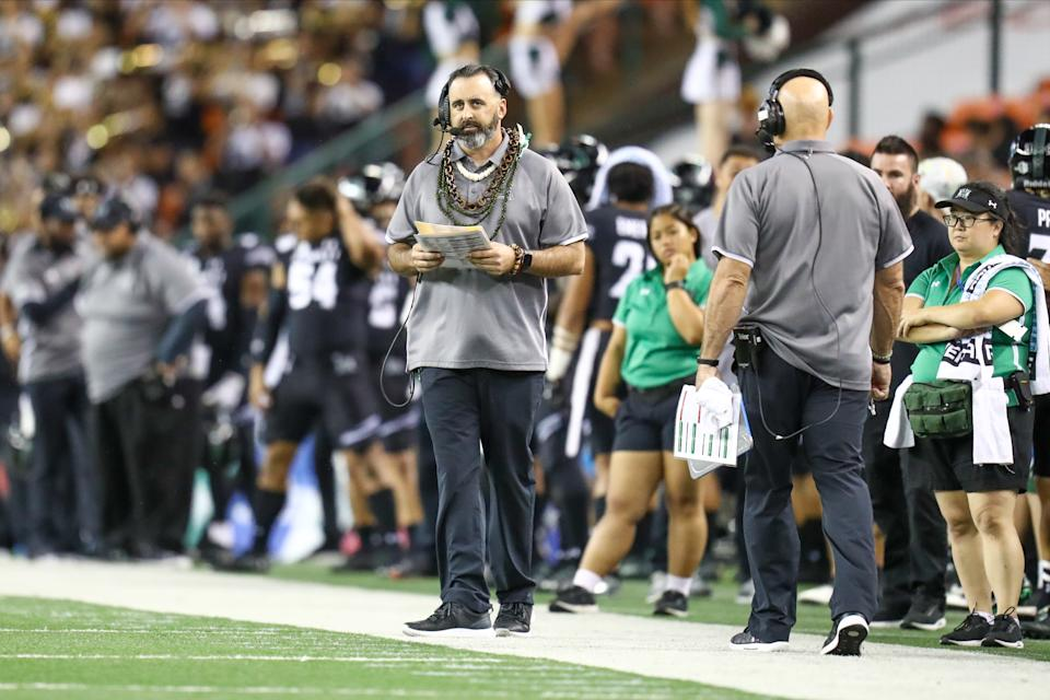 HONOLULU, HI - NOVEMBER 23: Head coach Nick Rolovich of the Hawaii watches the action from the sideline during the first quarter of the game against the San Diego State Aztecs at Aloha Stadium on November 23, 2019 in Honolulu, Hawaii. (Photo by Darryl Oumi/Getty Images)