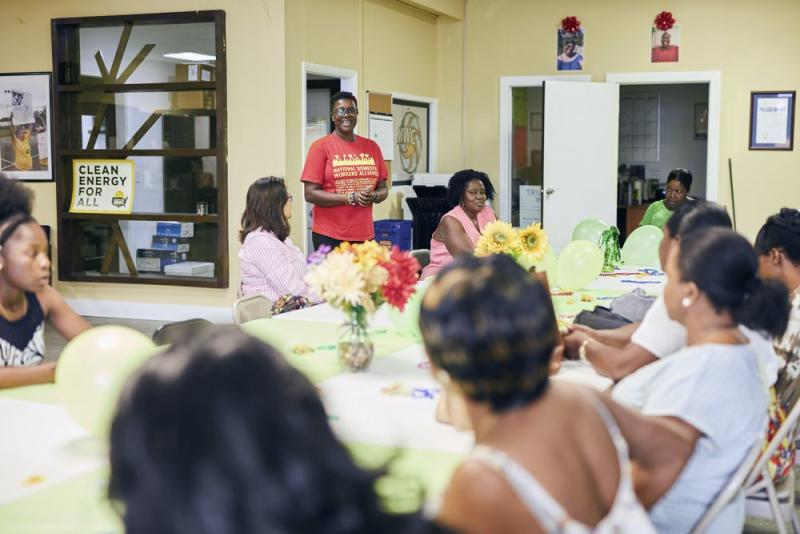 June Barrett speaks at the We Dream in Black domestic workers meeting at Miami Workers Center, March 29, 2019. | Photograph for MONEY by Mary Beth Koeth