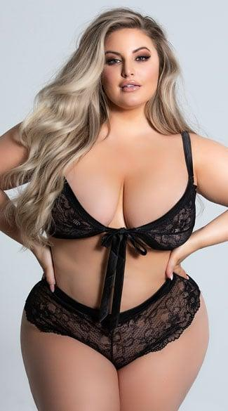 <p>Featuring sheer lace cups with a satin tie closure, this <span>Alaine Tie Me Up Plus-Size Bralette Set</span> ($13, originally $35) is absolutely enchanting.</p>
