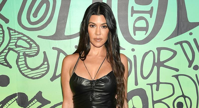 "Kourtney Kardashian reveals her ""skin obsession"" is a LED face mask, which works to prevent acne breakouts, boost collagen and reduce the appearance of wrinkles. (Getty Images)"