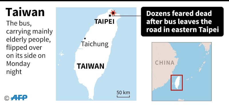 A bus left the road in eastern Taipei in February, killing 33 on board (AFP Photo/AFP)
