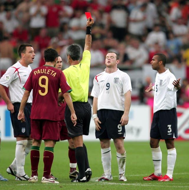 Rooney was sent off against Portugal in the 2006 World Cup
