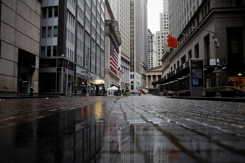 A view of a nearly deserted Broad street and the New York Stock Exchange building in the financial district of lower Manhattan during the outbreak of the coronavirus disease (COVID-19) in New York City, New York, U.S., April 3, 2020. REUTERS/Mike Segar