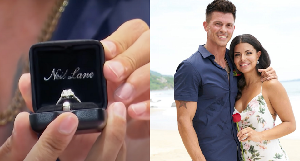Kenny Braasch and Mari Pepin got engaged during Tuesday night's BiP finale (Photos via Bachelor Nation/YouTube & bachelorinparadise/Instagram)