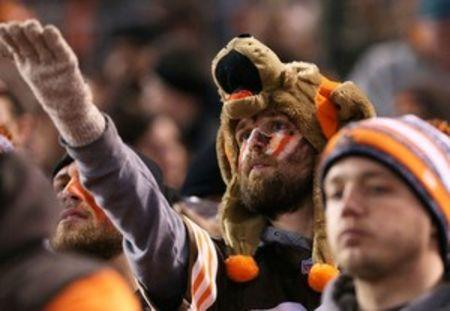 A Cleveland Browns fan reacts in the stands against the Baltimore Ravens at FirstEnergy Stadium. The Ravens won 33-27. Mandatory Credit: Aaron Doster-USA TODAY Sports