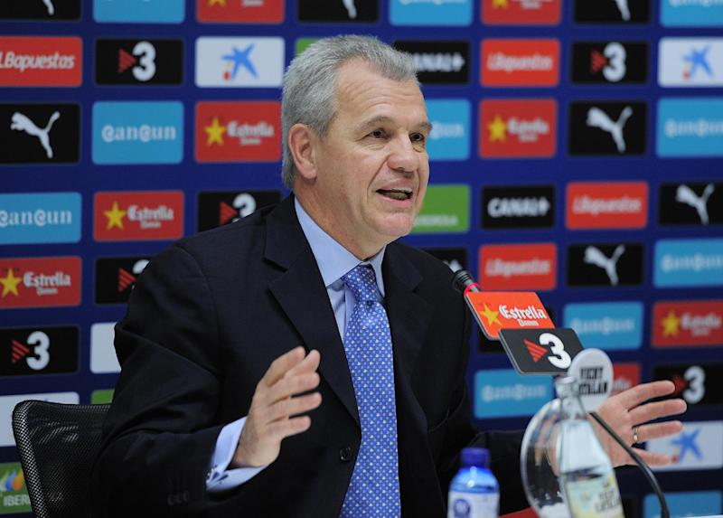 Former Espanyol and new Japan coach Javier Aguirre gives a press conference in Barcelona on November 29, 2012
