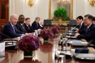 U.S. President Biden and South Korea's President Moon Jae-in participate in an expanded bilateral meeting at the White House
