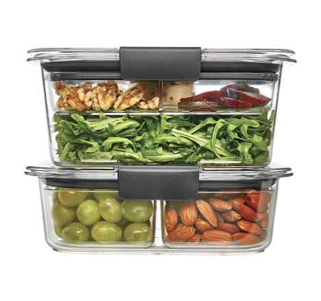 "<p><strong>Rubbermaid</strong></p><p>amazon.com</p><p><strong>$15.99</strong></p><p><a href=""https://www.amazon.com/dp/B06XSFGZS3?tag=syn-yahoo-20&ascsubtag=%5Bartid%7C10055.g.2215%5Bsrc%7Cyahoo-us"" rel=""nofollow noopener"" target=""_blank"" data-ylk=""slk:Shop Now"" class=""link rapid-noclick-resp"">Shop Now</a></p><p>Brilliant for many reasons, these food storage containers are completely see-through (aside from the seal), stack easily, and are <strong>perfect for taking on the go since they're light, sturdy, and leakproof. </strong>They have an airtight seal that snaps close for extra protection. They come in an assortment of sets and sizes that work well in your pantry or for <a href=""https://www.amazon.com/Rubbermaid-Brilliance-Storage-Container-9-Piece/dp/B06XSFGZS3?tag=syn-yahoo-20&ascsubtag=%5Bartid%7C10055.g.2215%5Bsrc%7Cyahoo-us"" rel=""nofollow noopener"" target=""_blank"" data-ylk=""slk:packing salads with mix-ins"" class=""link rapid-noclick-resp"">packing salads with mix-ins</a>. Some containers have compartments which are removable, depending on what you want to store inside.</p>"