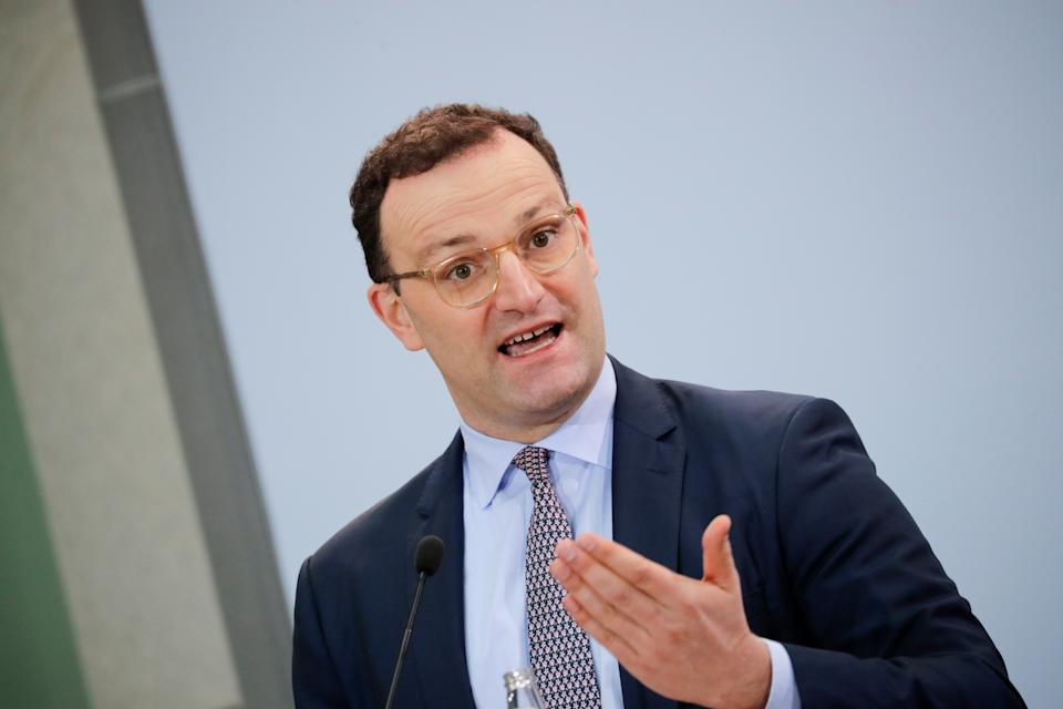 German Health Minister Jens Spahn attends a news conference on the started coronavirus disease (COVID-19) vaccination campaign, in Berlin, Germany, January 6, 2021. REUTERS/Hannibal Hanschke
