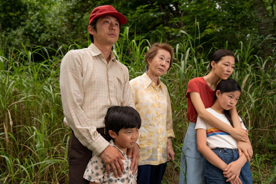 "The cast of ""Minari"" (from left, Steven Yeun, Alan S. Kim, Yuh-Jung Youn, Yeri Han and Noel Cho) received multiple acting nominations from the Critics Choice Association."