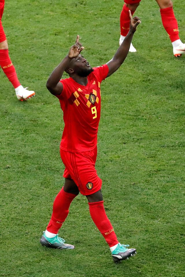 Soccer Football - World Cup - Group G - Belgium vs Panama - Fisht Stadium, Sochi, Russia - June 18, 2018 Belgium's Romelu Lukaku celebrates scoring their second goal REUTERS/Carlos Garcia Rawlins