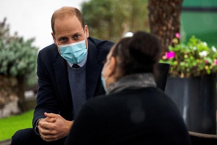 Britain's Prince William, Duke of Cambridge meets patients and staff during a visit to attend the ground-breaking ceremony for the Oak Cancer Centre at The Royal Marsden hospital in central London on October 21, 2020. (Photo by Jack Hill / POOL / AFP) (Photo by JACK HILL/POOL/AFP via Getty Images)