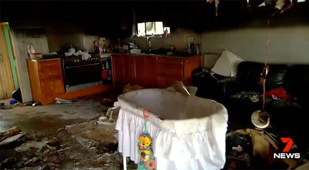 The house was completely gutted by fire. Source: 7 News