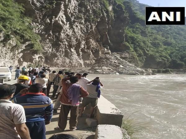 A visual of the landslide that took place in Mandi district of Himachal Pradesh. (Photo/ANI)