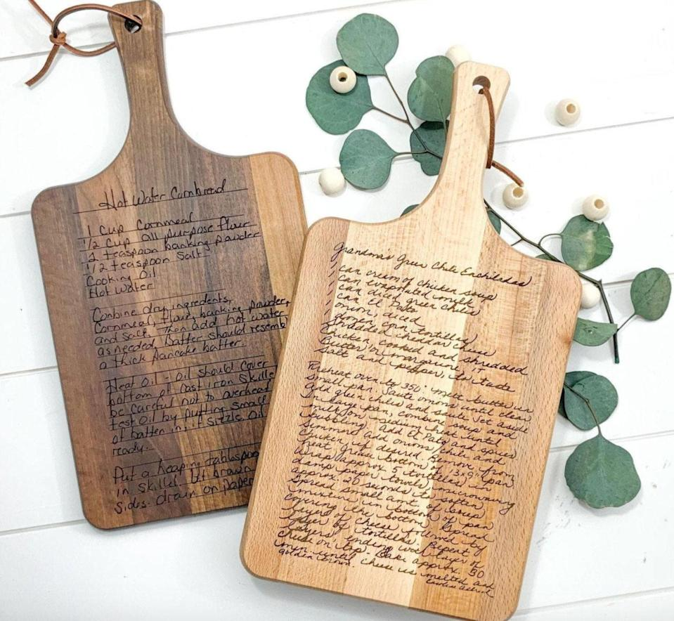 """<p>The holidays are the perfect time to pass down a beloved family recipe. And what better way to immortalize grandma's legendary stuffing than by creating a new heirloom. The couple behind Fort Worth, Texas-based Morning Joy Co. make stunning, one-of-a-kind cutting boards laser engraved in your loved one's original handwriting. (Restock: Monday, Nov. 9, 5 PM)</p> <p><strong>Buy It! </strong>$59, <a href=""""https://ecovibestyle.com/collections/house-warming-packages/products/thenewplantparentpackage"""" rel=""""nofollow noopener"""" target=""""_blank"""" data-ylk=""""slk:morningjoyco."""" class=""""link rapid-noclick-resp"""">morningjoyco.</a><a href=""""https://www.etsy.com/listing/777240178/recipe-cutting-board-personalized?show_sold_out_detail=1&ref=nla_listing_details"""" rel=""""nofollow noopener"""" target=""""_blank"""" data-ylk=""""slk:etsy.com"""" class=""""link rapid-noclick-resp"""">etsy.com</a> </p>"""