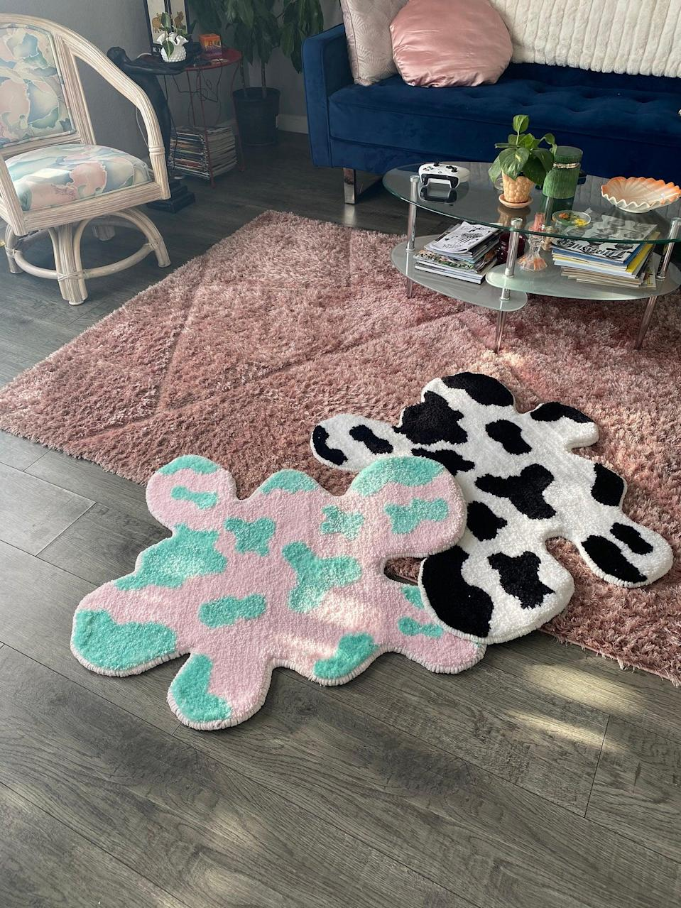 "<h2>Twotwentytwohome Cow Print Rug</h2><br>Whether you like the classic cow print or a jazzy colorful twist, this rug is a statement piece all the way. Each piece is also handmade to order.<br><br><em>Shop</em> <strong><em><a href=""https://www.etsy.com/shop/twotwentytwohome"" rel=""nofollow noopener"" target=""_blank"" data-ylk=""slk:Twotwentytwohome"" class=""link rapid-noclick-resp"">Twotwentytwohome</a></em></strong><br><br><strong>twotwentytwohome</strong> Cow Print Rug, $, available at <a href=""https://go.skimresources.com/?id=30283X879131&url=https%3A%2F%2Fwww.etsy.com%2Flisting%2F989038933%2Fcow-print-rug"" rel=""nofollow noopener"" target=""_blank"" data-ylk=""slk:Etsy"" class=""link rapid-noclick-resp"">Etsy</a>"