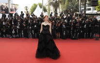 Jessica Chastain poses for photographers upon arrival at the premiere of the film 'Annette' and the opening ceremony of the 74th international film festival, Cannes, southern France, Tuesday, July 6, 2021. (Photo by Vianney Le Caer/Invision/AP)