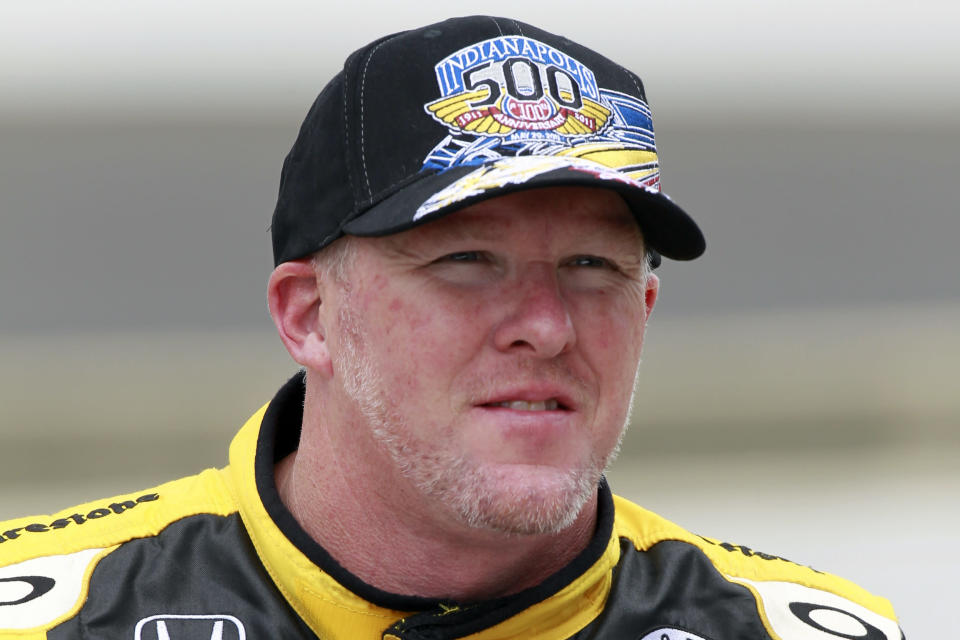 FILE - Then-IndyCar driver Paul Tracy, of Canada, is shown after they qualified for the Indianapolis 500 auto racing at the Indianapolis Motor Speedway in Indianapolis, in this Saturday, May 21, 2011, file photo. Tony Stewart was like everyone else in the motorsports industry this week, frequently checking social media to see Paul Tracy's latest theatrics in a one-sided war against NASCAR golden girl Hailie Deegan. (AP Photo/Dave Parker, File)