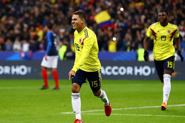 France 2 Colombia 3: Hosts waste two-goal lead as Colombia fight back after David Ospina clanger