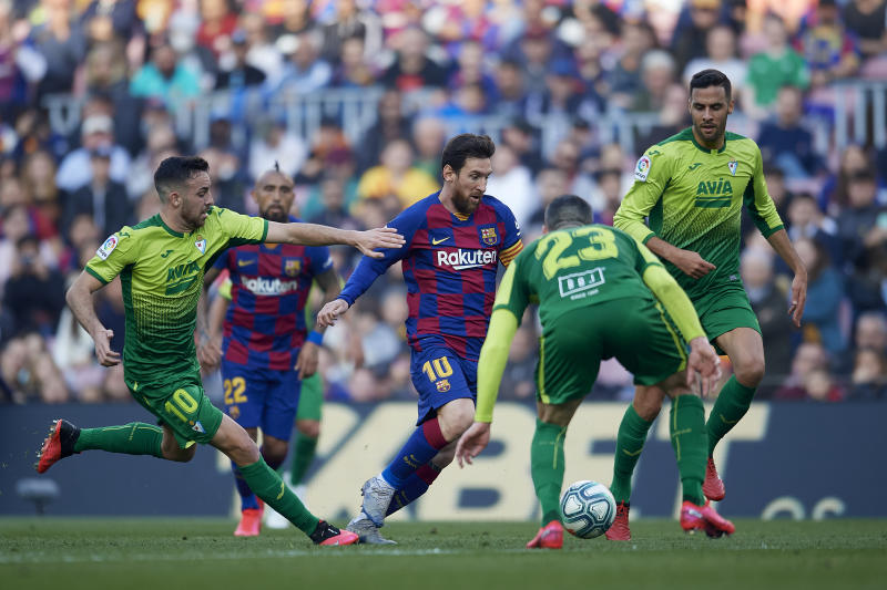 Lionel Messi of Barcelona in action during the Liga match between FC Barcelona and SD Eibar SAD at Camp Nou on February 22, 2020 in Barcelona, Spain. (Photo by Jose Breton/Pics Action/NurPhoto via Getty Images)
