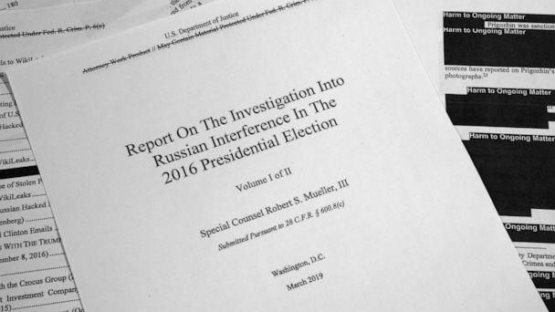 PHOTO: Special counsel Robert Mueller's redacted report on Russian interference in the 2016 presidential election as released on April 18, 2019, is photographed in Washington, D.C. (Jon Elswick/AP)