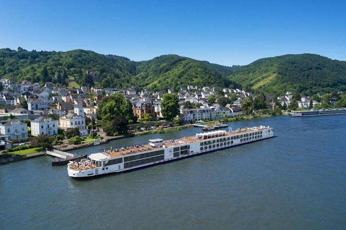 Viking Longship Mani passes the town of Boppard in the Middle Rhine Valley: Viking