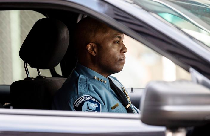 Minneapolis Police chief Medaria Arradondo drives a vehicle as he leaves the Hennepin County Government Center on April 5 in Minneapolis, Minnesota. (Photo: Stephen Maturen via Getty Images)