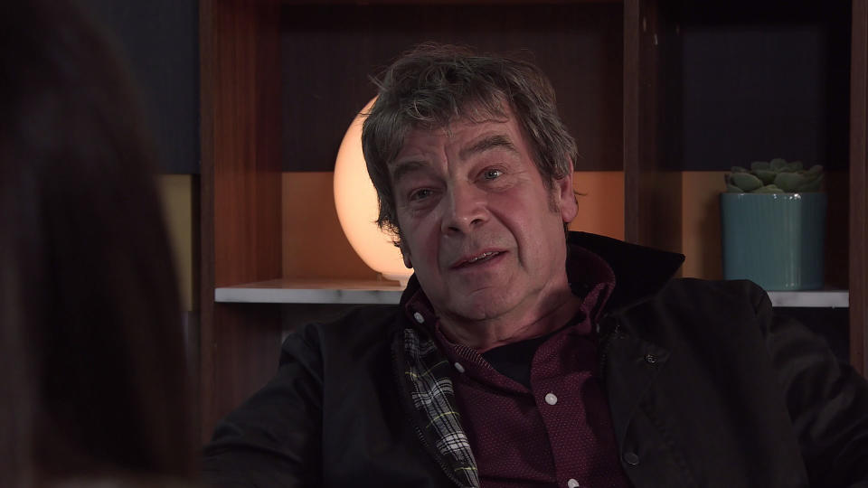 FROM ITV  STRICT EMBARGO - No Use Before Tuesday 12th October 2021  Coronation Street - Ep 10458  Monday 18th October 2021 - 1st Ep  Johnny Connor [RICHARD HAWLEY] tells Carla Barlow [ALISON KING] he is going to Bali to be with Kate.  Picture contact David.crook@itv.com   This photograph is (C) ITV Plc and can only be reproduced for editorial purposes directly in connection with the programme or event mentioned above, or ITV plc. Once made available by ITV plc Picture Desk, this photograph can be reproduced once only up until the transmission [TX] date and no reproduction fee will be charged. Any subsequent usage may incur a fee. This photograph must not be manipulated [excluding basic cropping] in a manner which alters the visual appearance of the person photographed deemed detrimental or inappropriate by ITV plc Picture Desk. This photograph must not be syndicated to any other company, publication or website, or permanently archived, without the express written permission of ITV Picture Desk. Full Terms and conditions are available on  www.itv.com/presscentre/itvpictures/terms