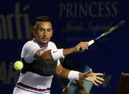 FILE PHOTO: Tennis - ATP 500 - Acapulco Open, Acapulco, Mexico - March 2, 2019 Australia's Nick Kyrgios in action during his Final match against Germany's Alexander Zverev REUTERS/Henry Romero