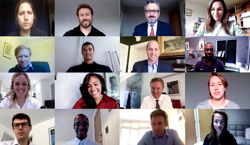 Undated handout screengrab issued by the Department for Digital, Culture, Media & Sport (DCMS) of the Duke of Cambridge joining England rugby hero Jonny Wilkinson and other sporting greats to discuss the issue of mental health across UK sport during a Zoom call.